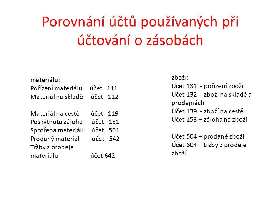 Porovnání účtů používaných při účtování o zásobách