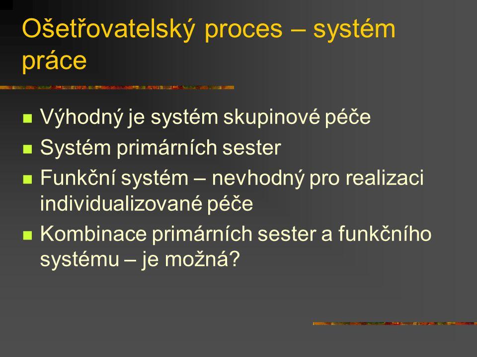 Ošetřovatelský proces – systém práce