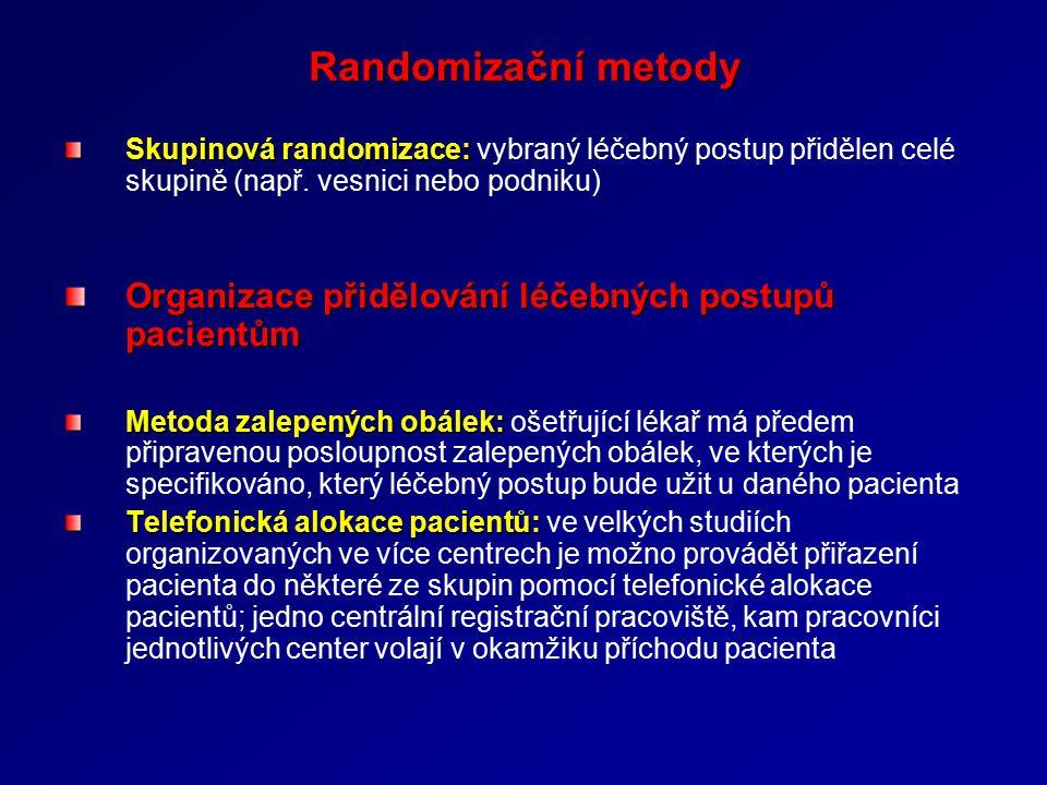 Randomizační metody Organizace přidělování léčebných postupů pacientům