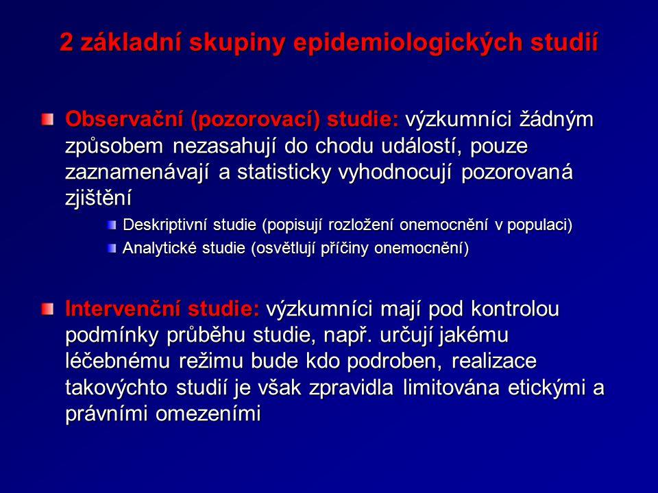 2 základní skupiny epidemiologických studií