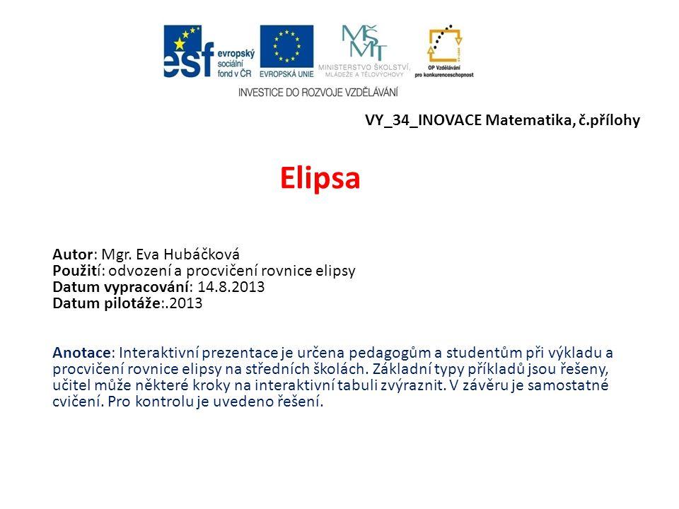 Elipsa VY_34_INOVACE Matematika, č.přílohy Autor: Mgr. Eva Hubáčková