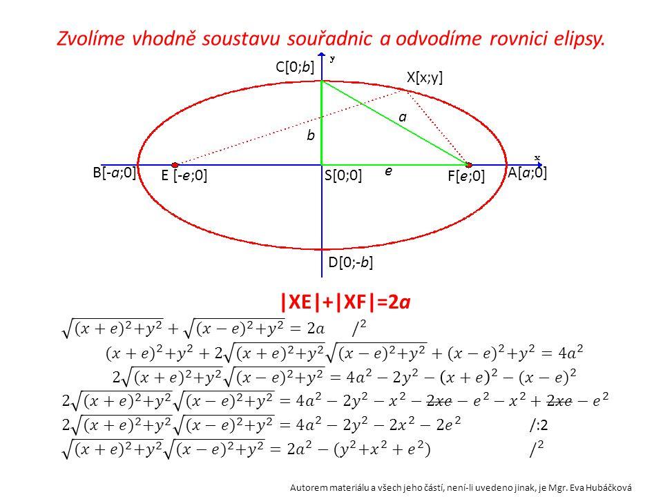 Zvolíme vhodně soustavu souřadnic a odvodíme rovnici elipsy.