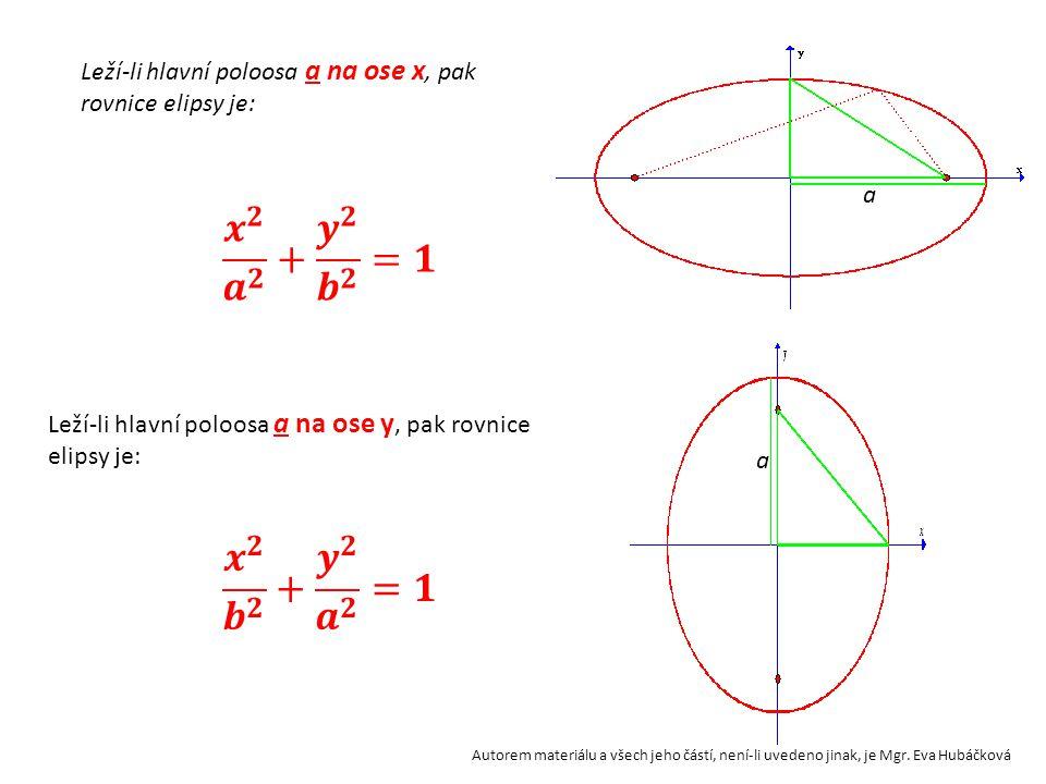 Leží-li hlavní poloosa a na ose x, pak rovnice elipsy je: