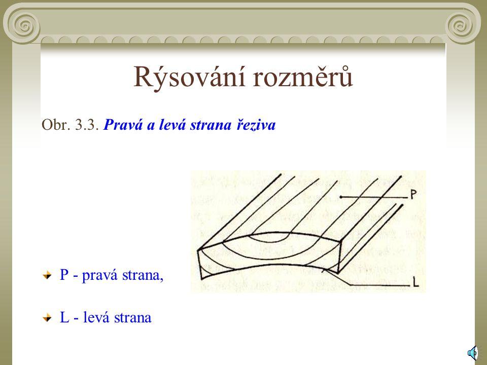 Rýsování rozměrů Obr. 3.3. Pravá a levá strana řeziva