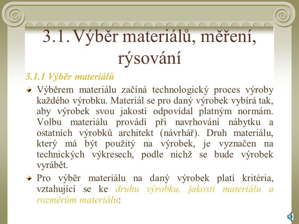 3.1. Výběr materiálů, měření, rýsování