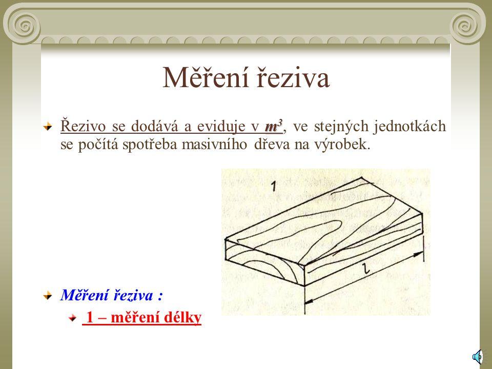 Měření řeziva Řezivo se dodává a eviduje v m3, ve stejných jednotkách se počítá spotřeba masivního dřeva na výrobek.