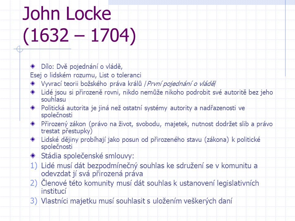 John Locke (1632 – 1704) Stádia společenské smlouvy: