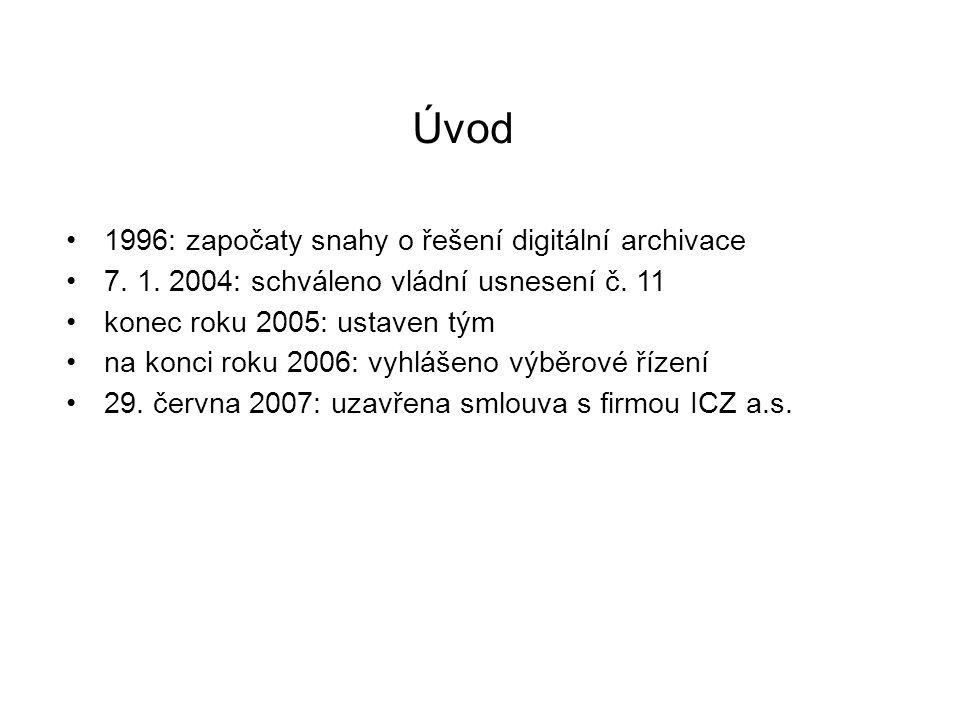 Úvod 1996: započaty snahy o řešení digitální archivace