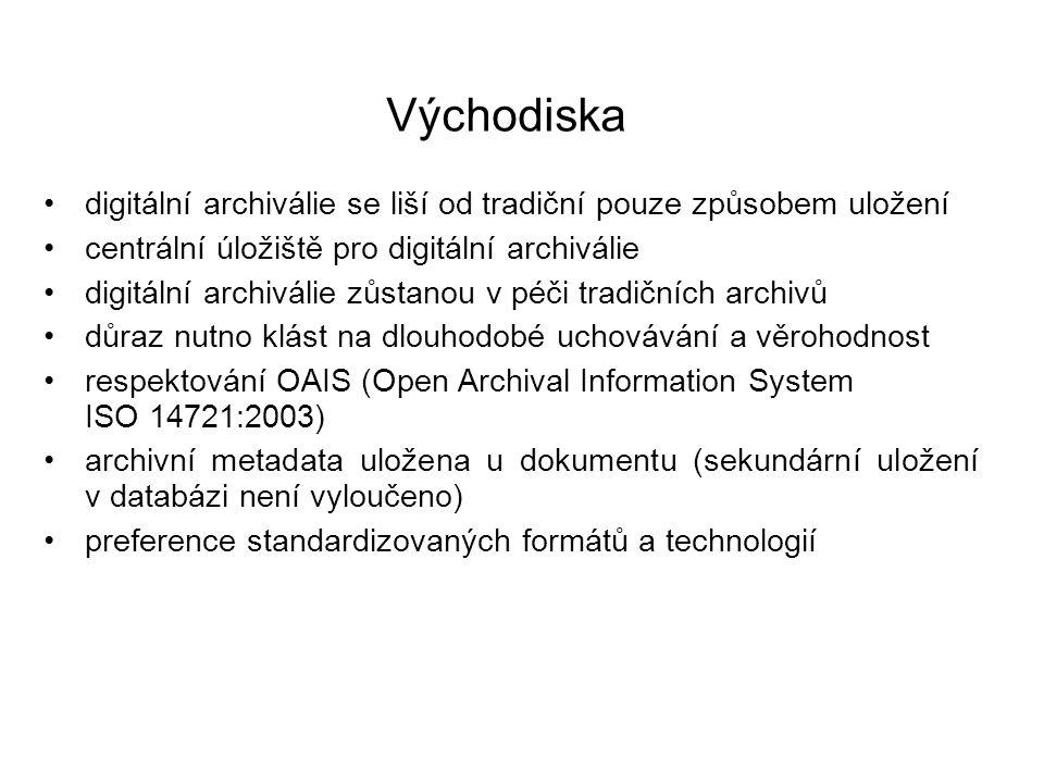 Východiska digitální archiválie se liší od tradiční pouze způsobem uložení. centrální úložiště pro digitální archiválie.