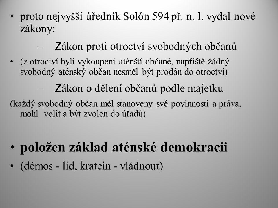 položen základ aténské demokracii
