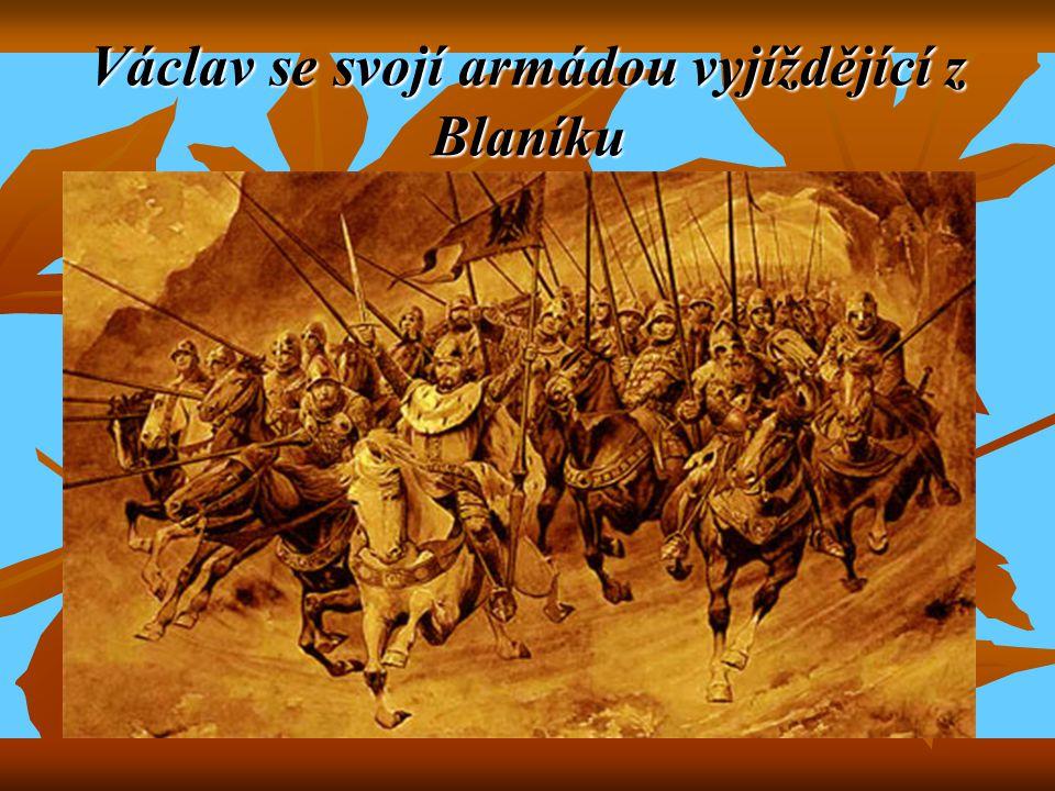 Václav se svojí armádou vyjíždějící z Blaníku