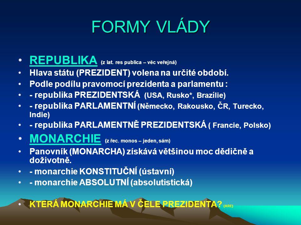 FORMY VLÁDY REPUBLIKA (z lat. res publica – věc veřejná)