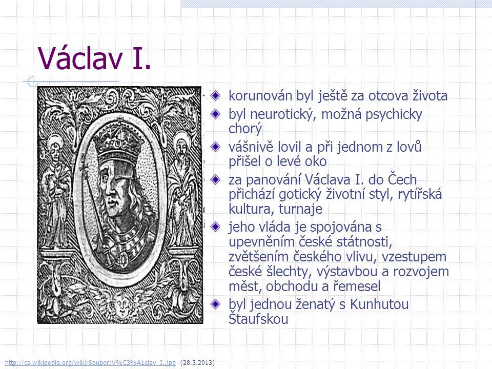 Václav I. korunován byl ještě za otcova života