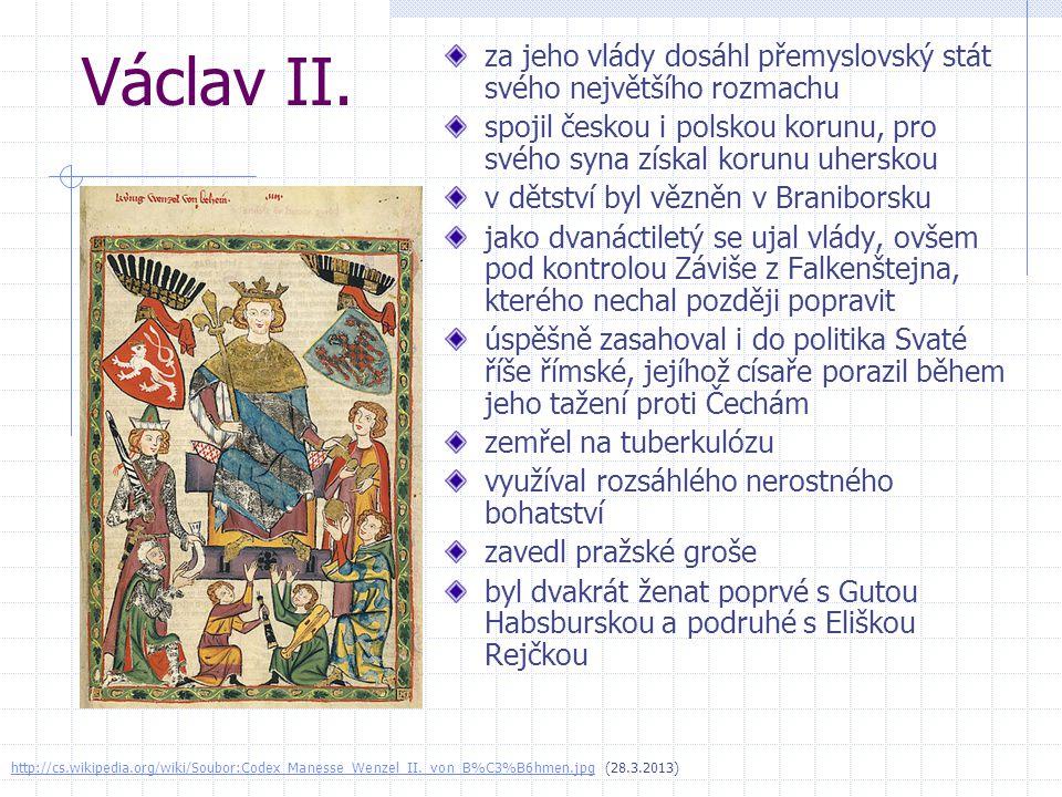 Václav II. za jeho vlády dosáhl přemyslovský stát svého největšího rozmachu. spojil českou i polskou korunu, pro svého syna získal korunu uherskou.