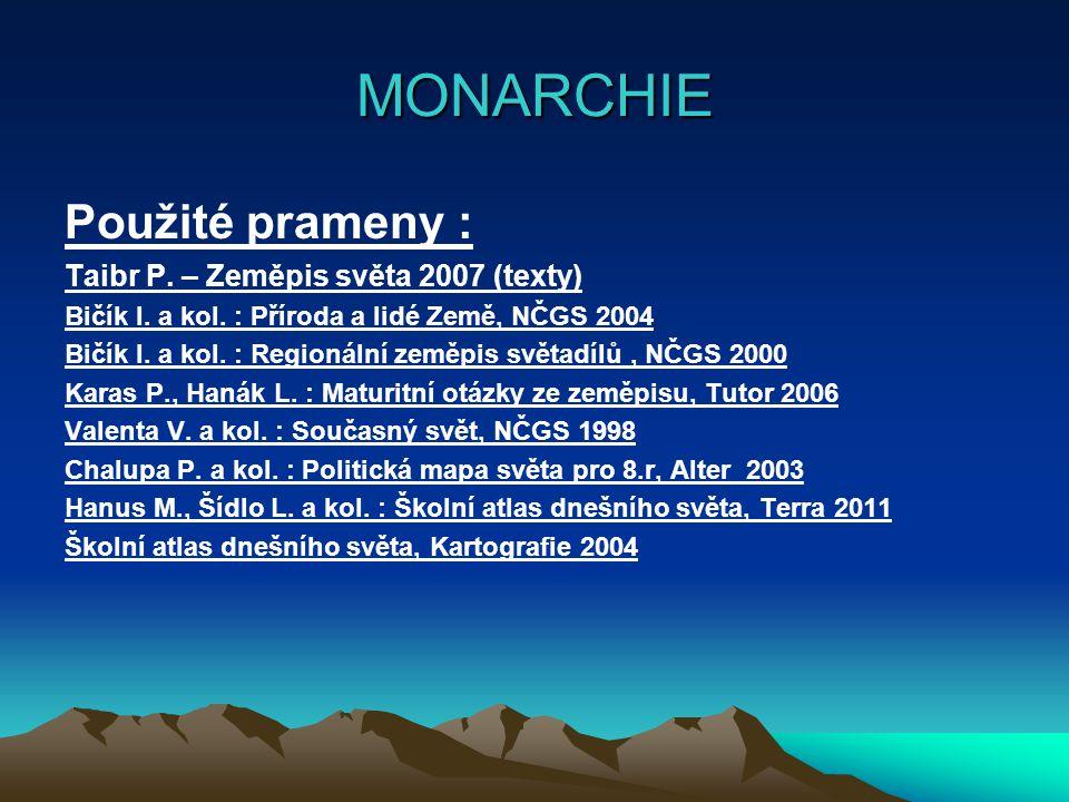 MONARCHIE Použité prameny : Taibr P. – Zeměpis světa 2007 (texty)