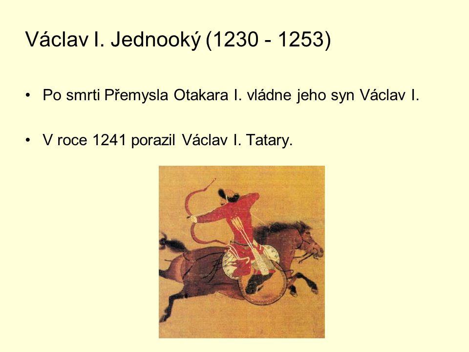 Václav I. Jednooký (1230 - 1253) Po smrti Přemysla Otakara I.