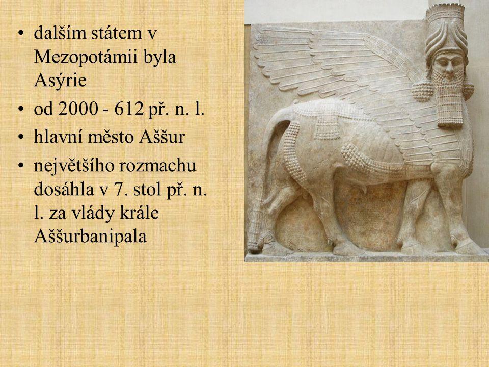 dalším státem v Mezopotámii byla Asýrie