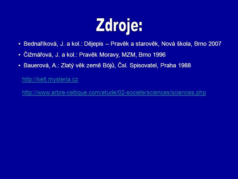 Zdroje: Bednaříková, J. a kol.: Dějepis – Pravěk a starověk, Nová škola, Brno 2007. Čižmářová, J. a kol.: Pravěk Moravy, MZM, Brno 1996.