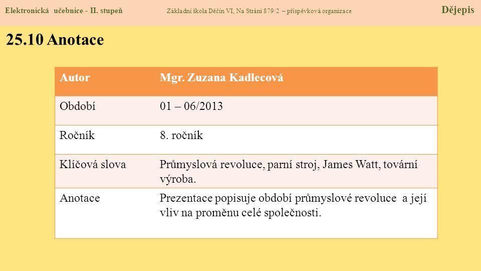 25.10 Anotace Autor Mgr. Zuzana Kadlecová Období 01 – 06/2013 Ročník