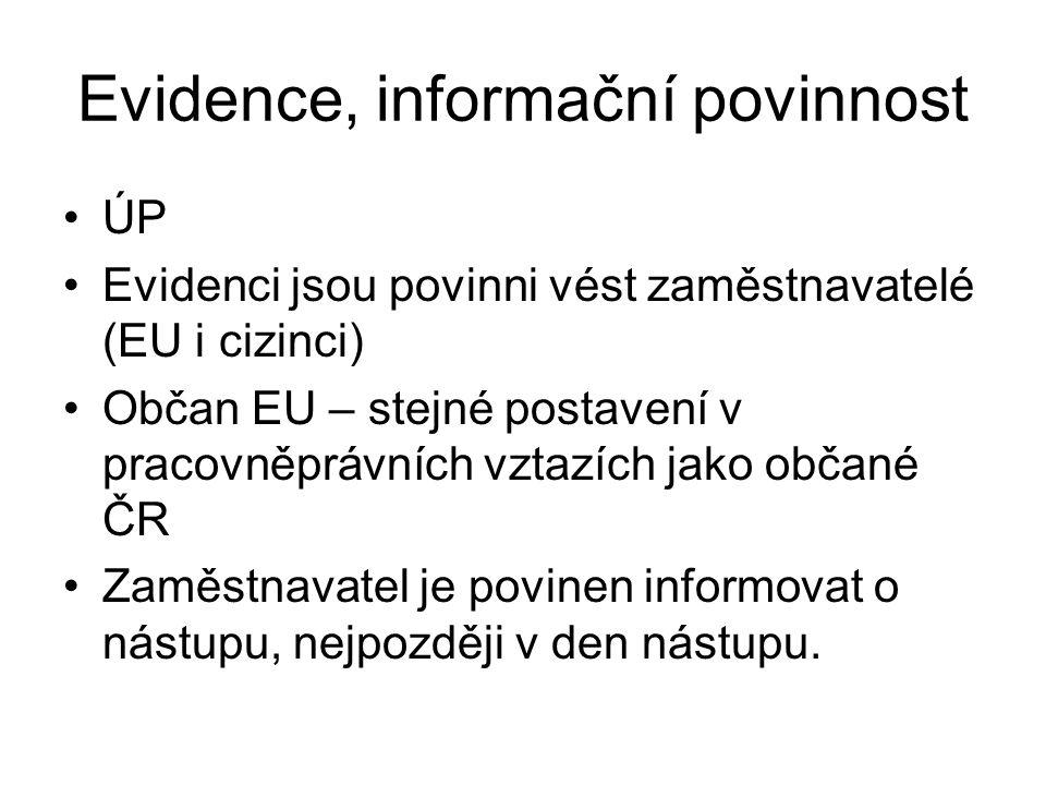 Evidence, informační povinnost