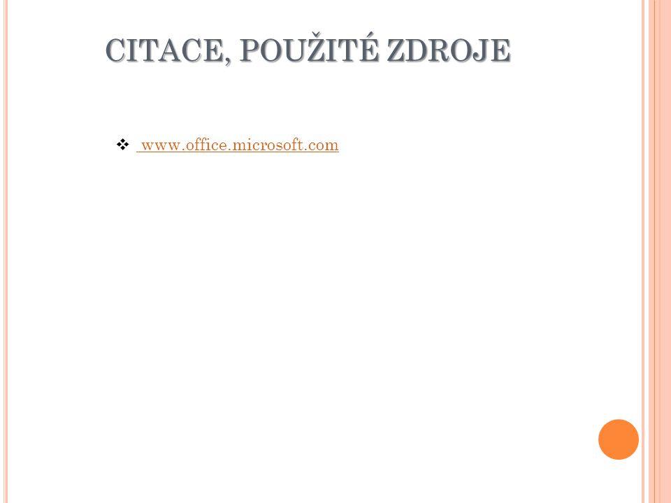 CITACE, POUŽITÉ ZDROJE www.office.microsoft.com