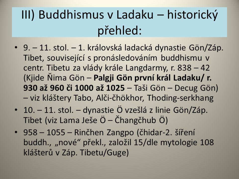 III) Buddhismus v Ladaku – historický přehled:
