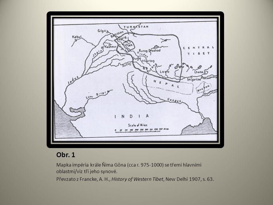 Obr. 1 Mapka impéria krále Ňima Göna (cca r. 975-1000) se třemi hlavními oblastmi/viz tři jeho synové.