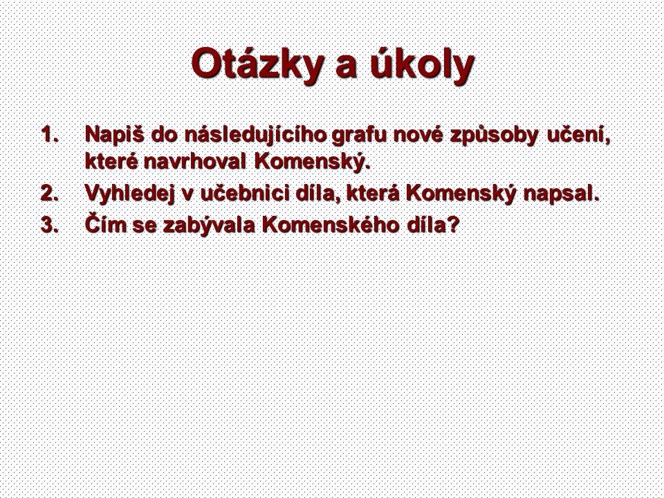 Otázky a úkoly Napiš do následujícího grafu nové způsoby učení, které navrhoval Komenský. Vyhledej v učebnici díla, která Komenský napsal.
