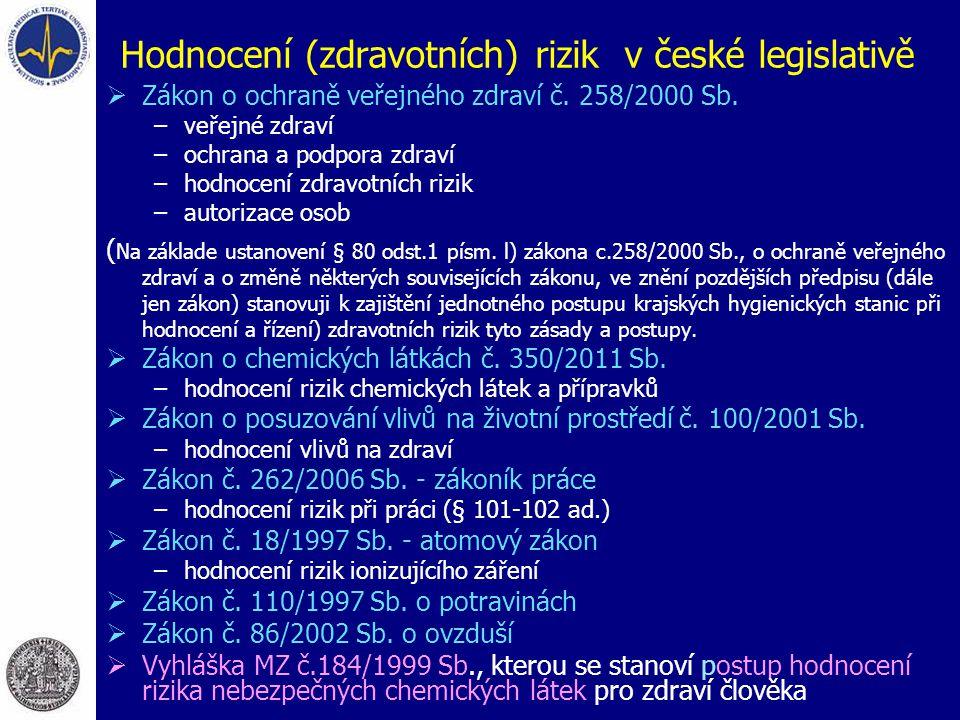 Hodnocení (zdravotních) rizik v české legislativě
