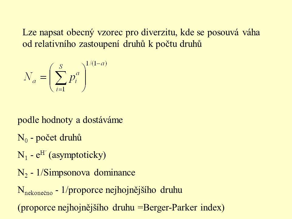 Lze napsat obecný vzorec pro diverzitu, kde se posouvá váha od relativního zastoupení druhů k počtu druhů