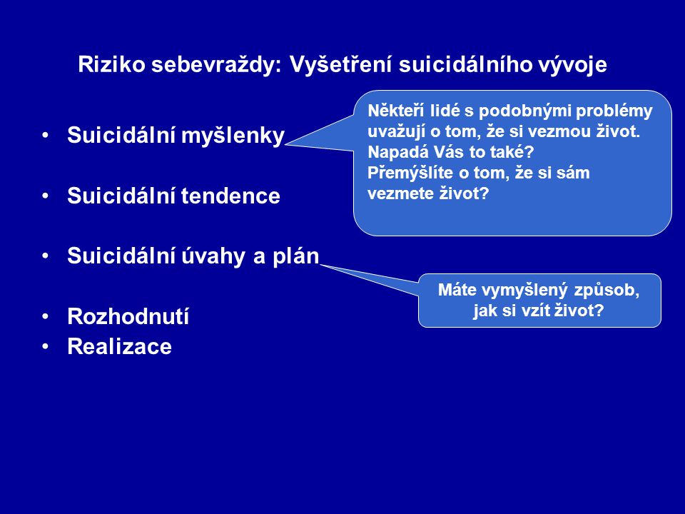 Riziko sebevraždy: Vyšetření suicidálního vývoje