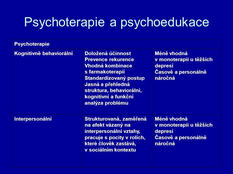 Psychoterapie a psychoedukace
