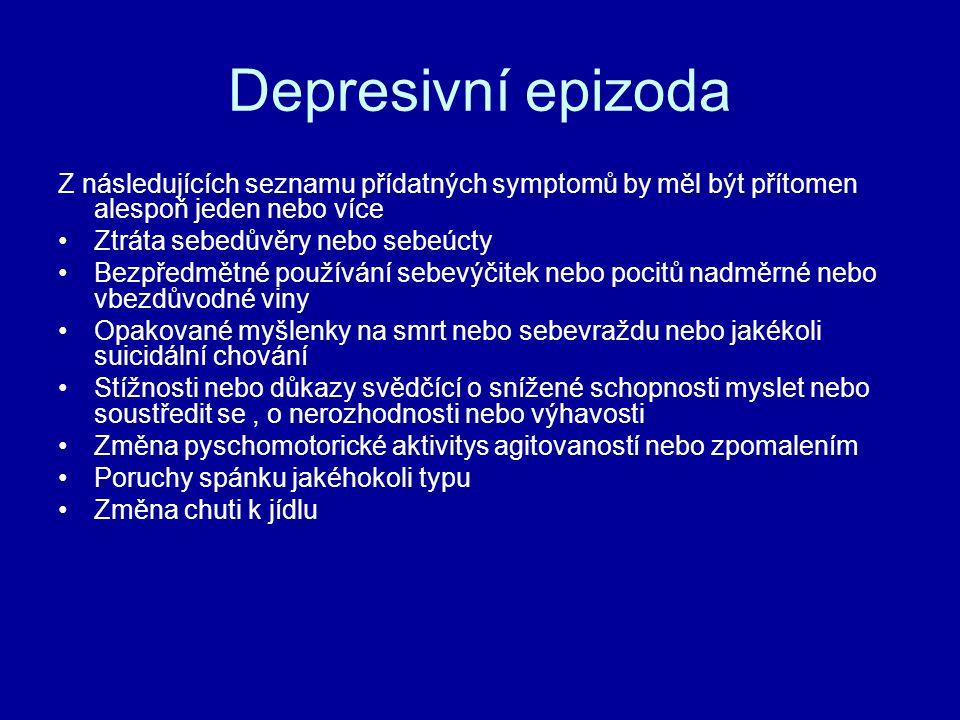 Depresivní epizoda Z následujících seznamu přídatných symptomů by měl být přítomen alespoň jeden nebo více.