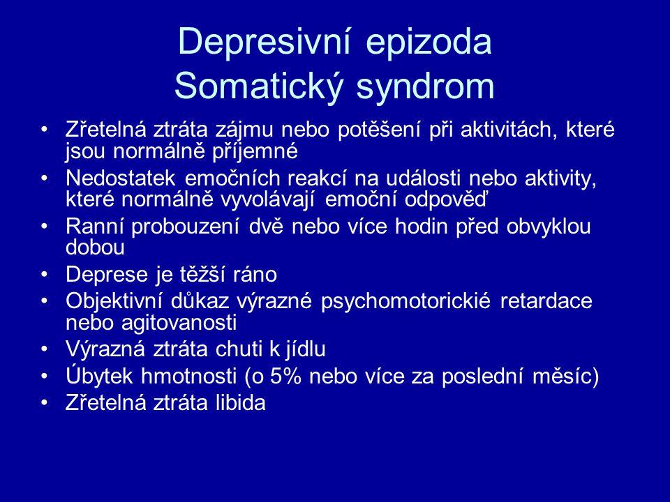 Depresivní epizoda Somatický syndrom