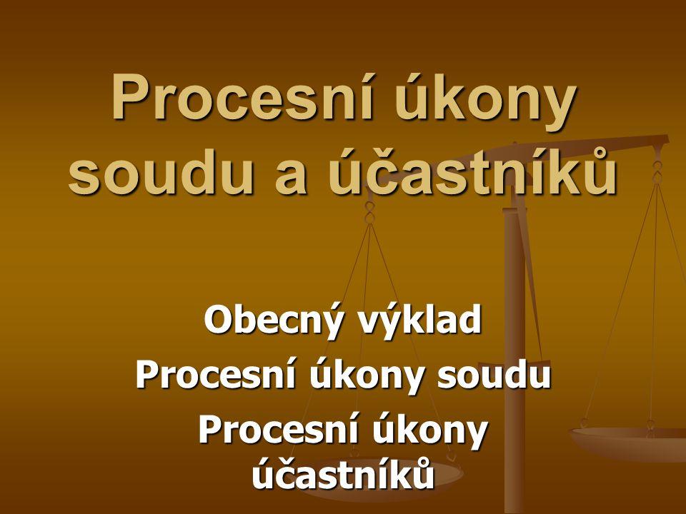 Procesní úkony soudu a účastníků
