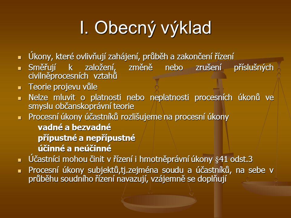 I. Obecný výklad Úkony, které ovlivňují zahájení, průběh a zakončení řízení.
