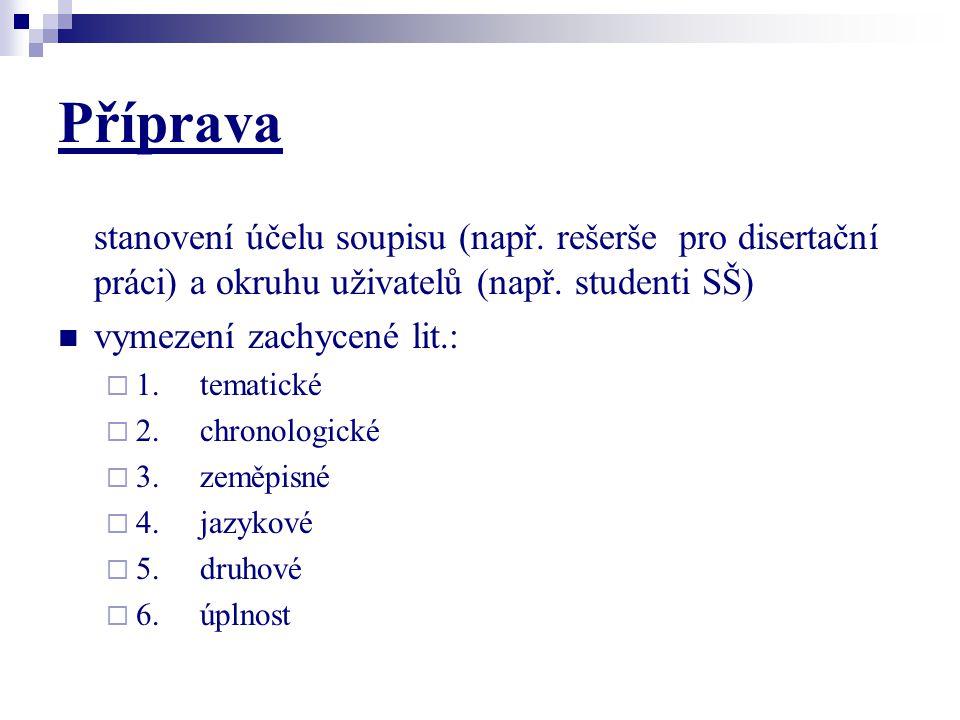 Příprava stanovení účelu soupisu (např. rešerše pro disertační práci) a okruhu uživatelů (např. studenti SŠ)