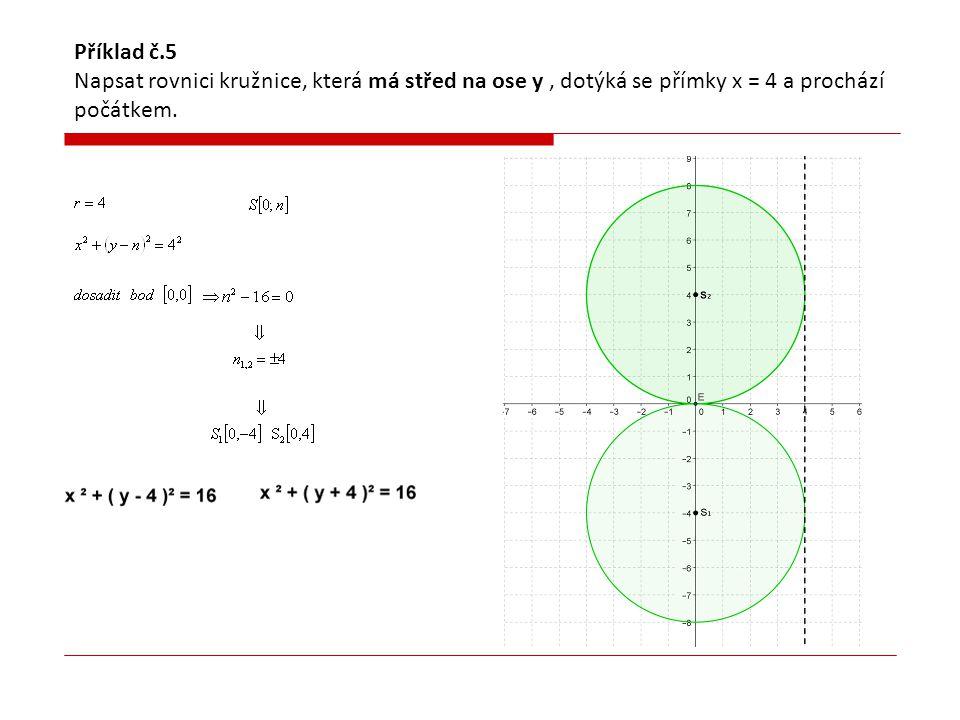 Příklad č.5 Napsat rovnici kružnice, která má střed na ose y , dotýká se přímky x = 4 a prochází počátkem.