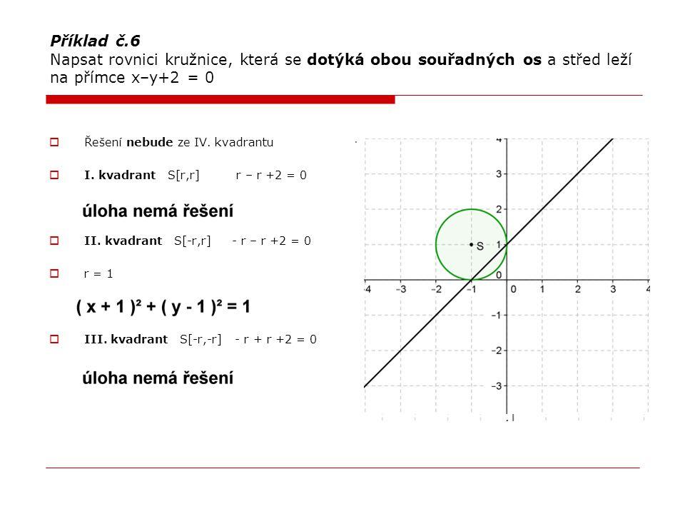 Příklad č.6 Napsat rovnici kružnice, která se dotýká obou souřadných os a střed leží na přímce x–y+2 = 0