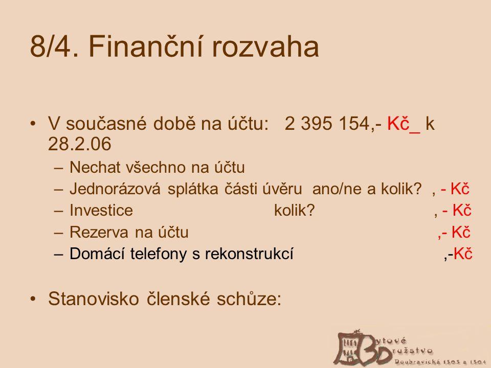 8/4. Finanční rozvaha V současné době na účtu: 2 395 154,- Kč_ k 28.2.06. Nechat všechno na účtu.