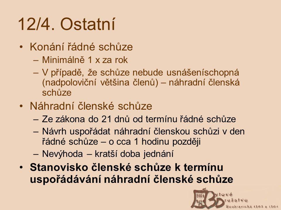 12/4. Ostatní Konání řádné schůze Náhradní členské schůze