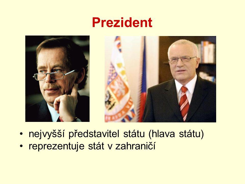 Prezident nejvyšší představitel státu (hlava státu)