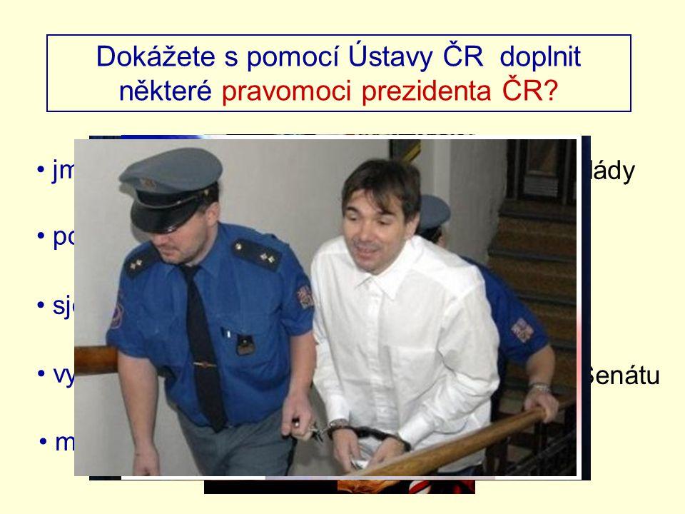 Dokážete s pomocí Ústavy ČR doplnit některé pravomoci prezidenta ČR