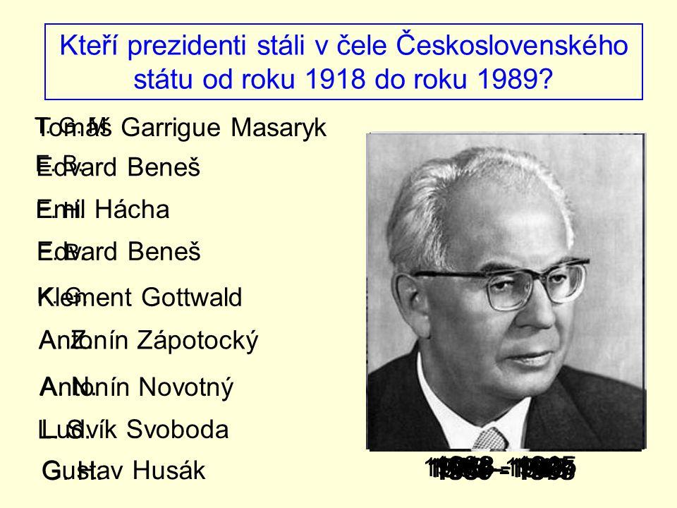 Kteří prezidenti stáli v čele Československého státu od roku 1918 do roku 1989