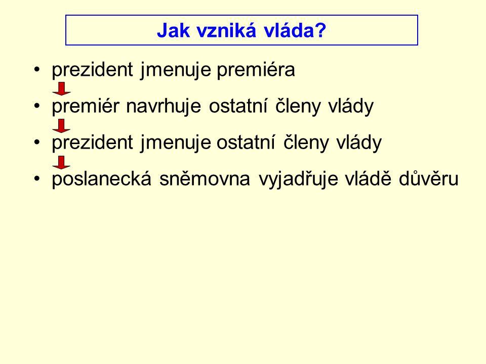 Jak vzniká vláda prezident jmenuje premiéra. premiér navrhuje ostatní členy vlády. prezident jmenuje ostatní členy vlády.