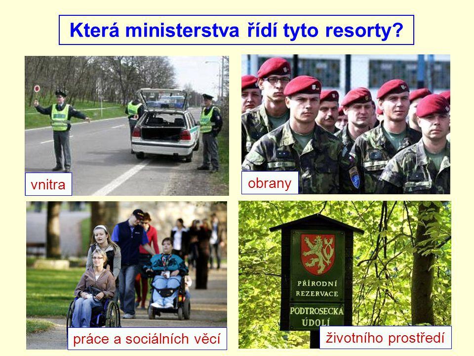Která ministerstva řídí tyto resorty
