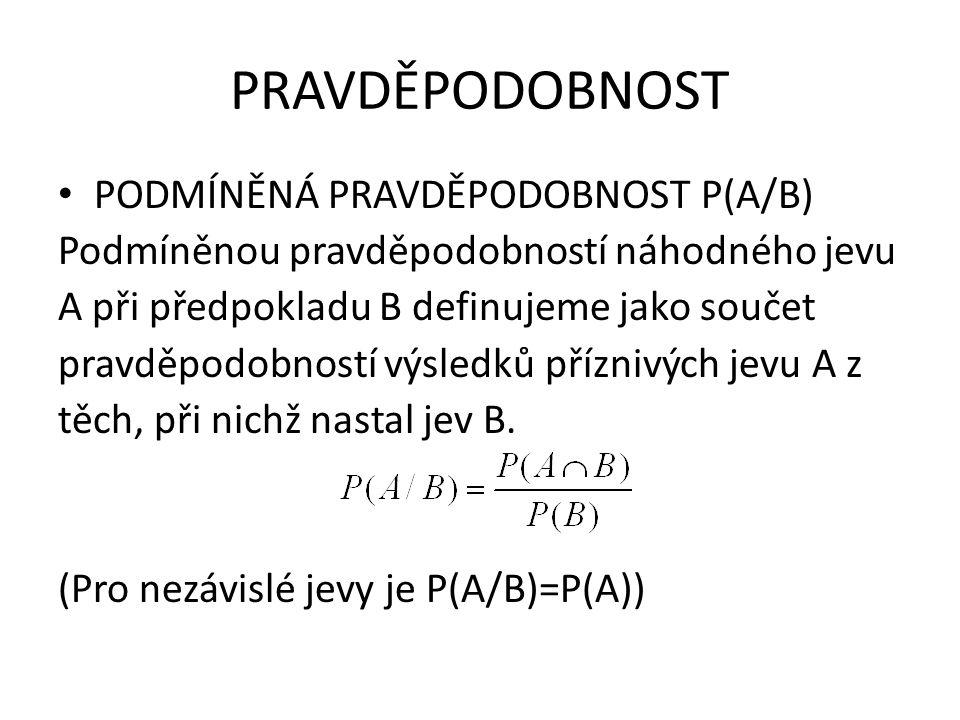 PRAVDĚPODOBNOST PODMÍNĚNÁ PRAVDĚPODOBNOST P(A/B)