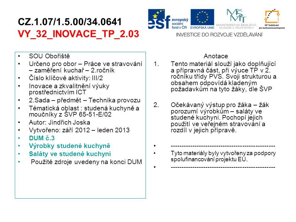CZ.1.07/1.5.00/34.0641 VY_32_INOVACE_TP_2.03 SOU Obořiště