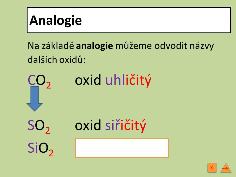 CO2 oxid uhličitý SO2 oxid siřičitý SiO2 oxid křemičitý Analogie