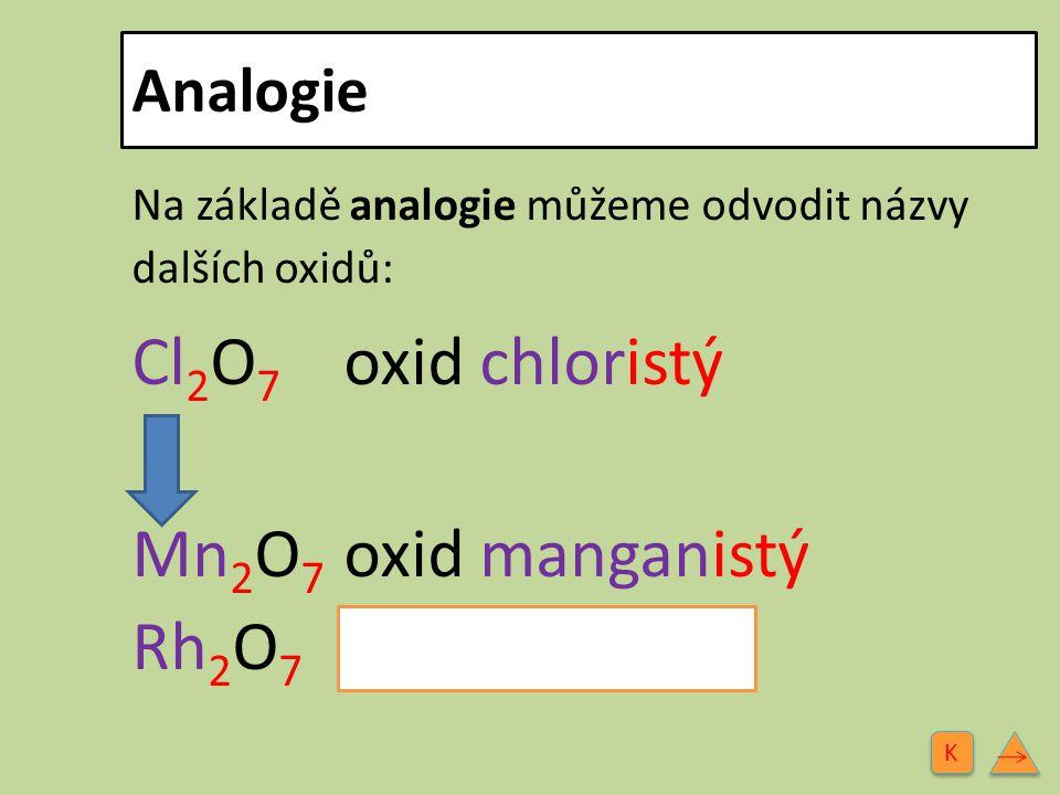 Cl2O7 oxid chloristý Mn2O7 oxid manganistý Rh2O7 oxid rhenistý